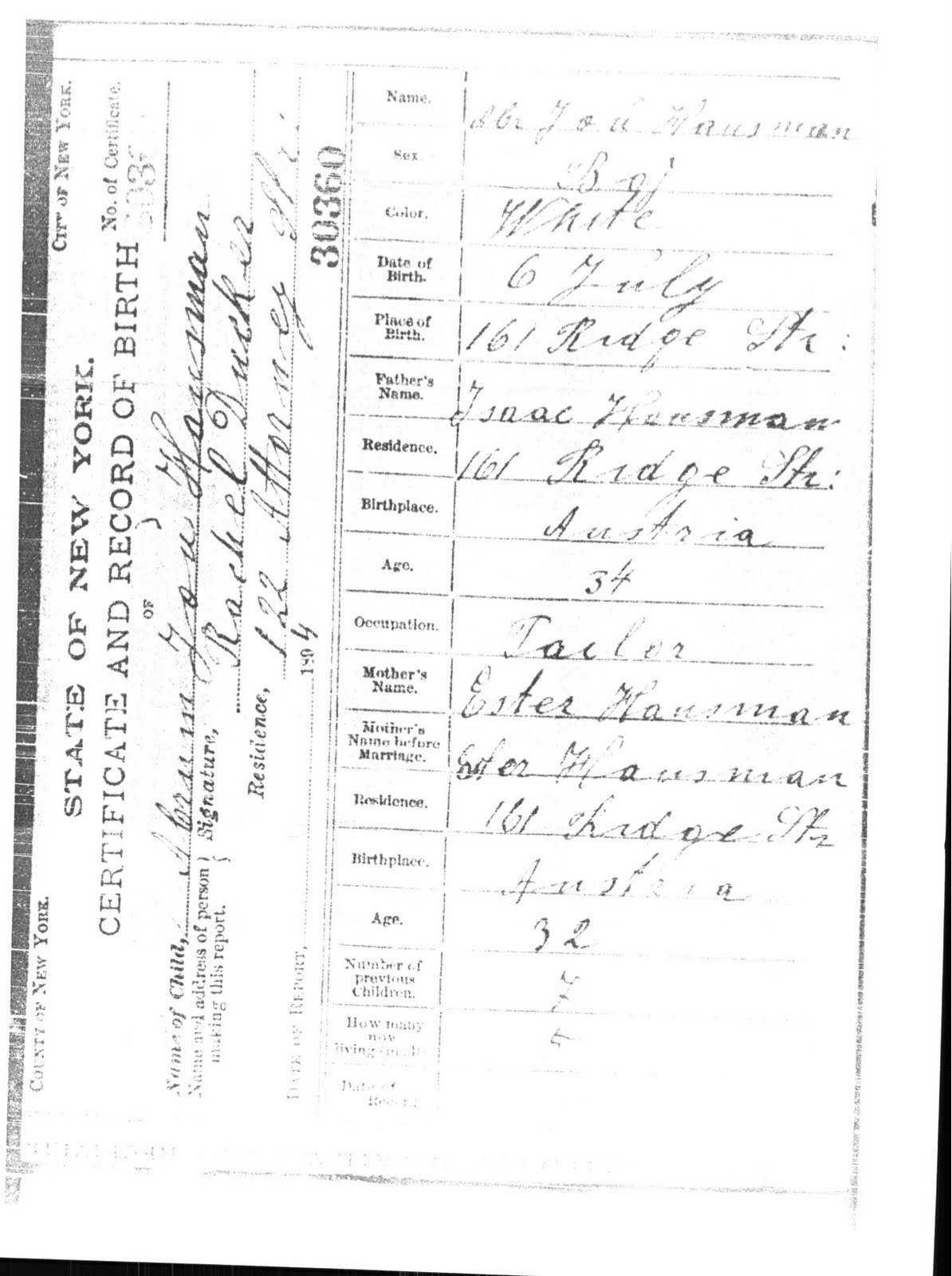 Name changes at ellis island bf jewish genealogy and more birth certificate of abraham joseph hausmantrauring 1betcityfo Image collections