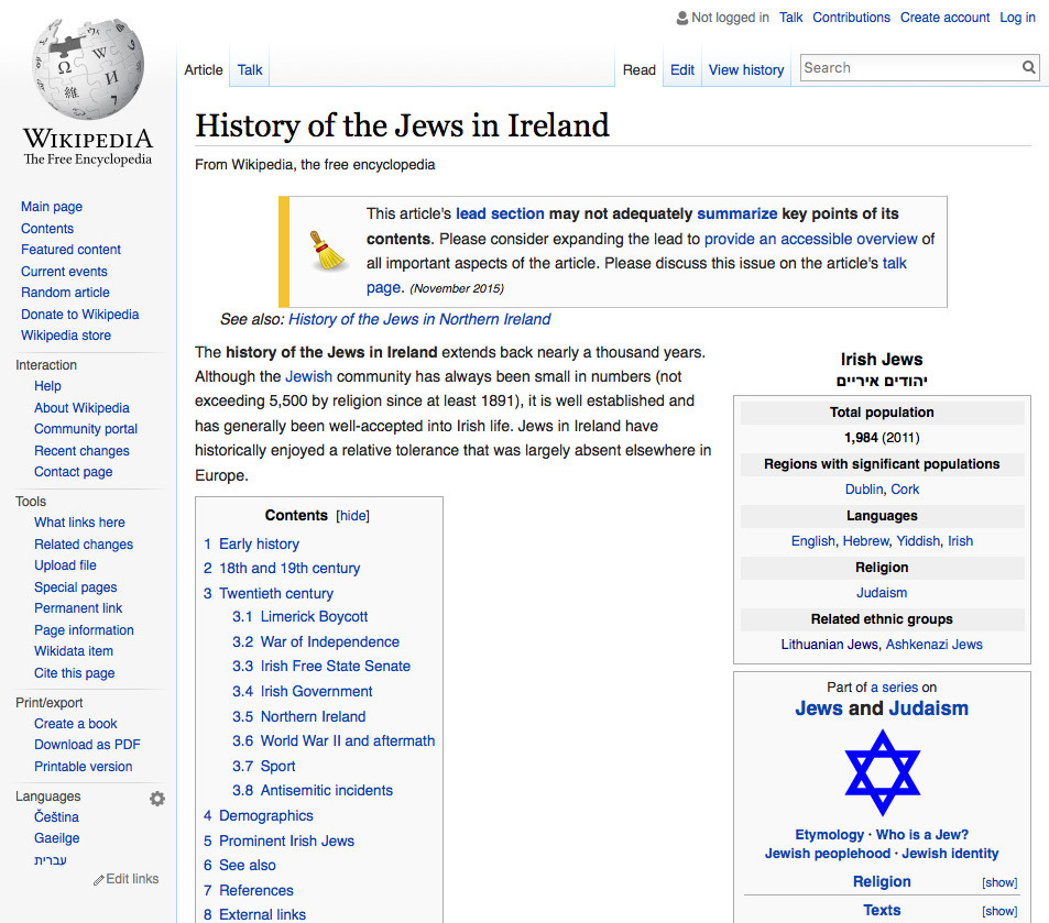 Wikipedia – History of the Jews in Ireland   B&F: Jewish