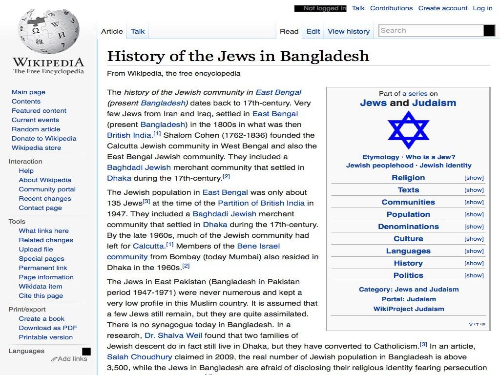 Wikipedia – History of the Jews in Bangladesh | B&F: Jewish