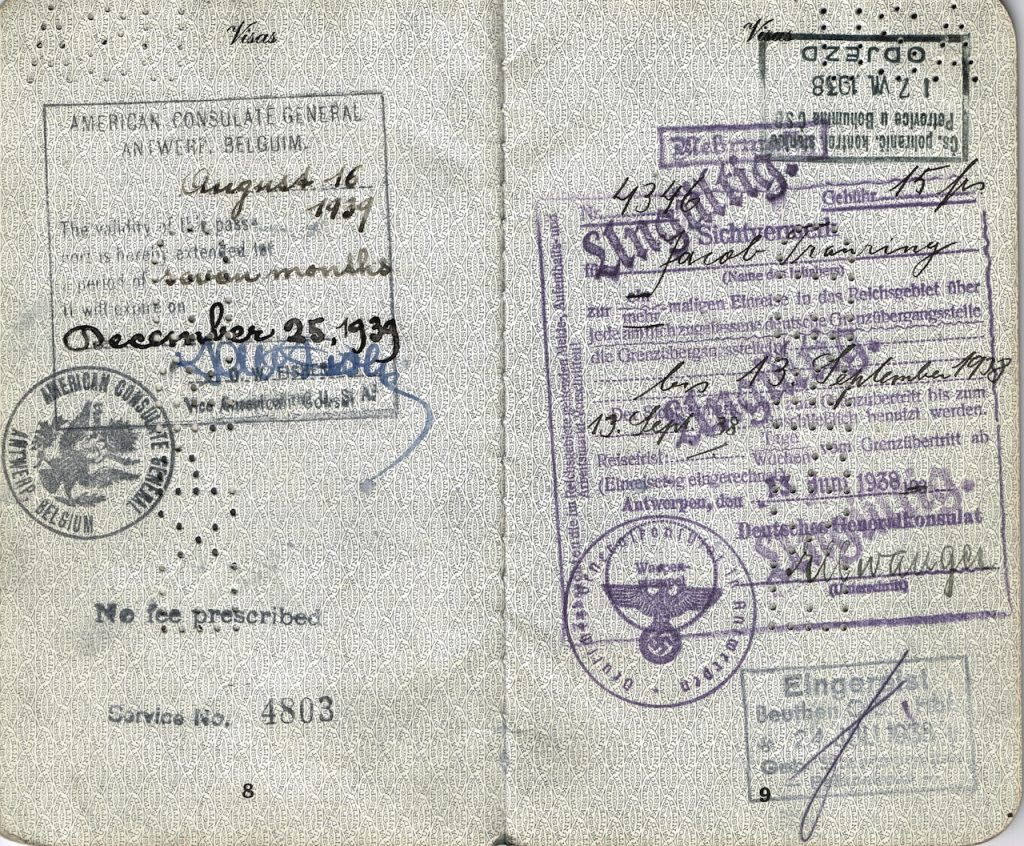 Visa to enter Nazi Germany issued June 13, 1938