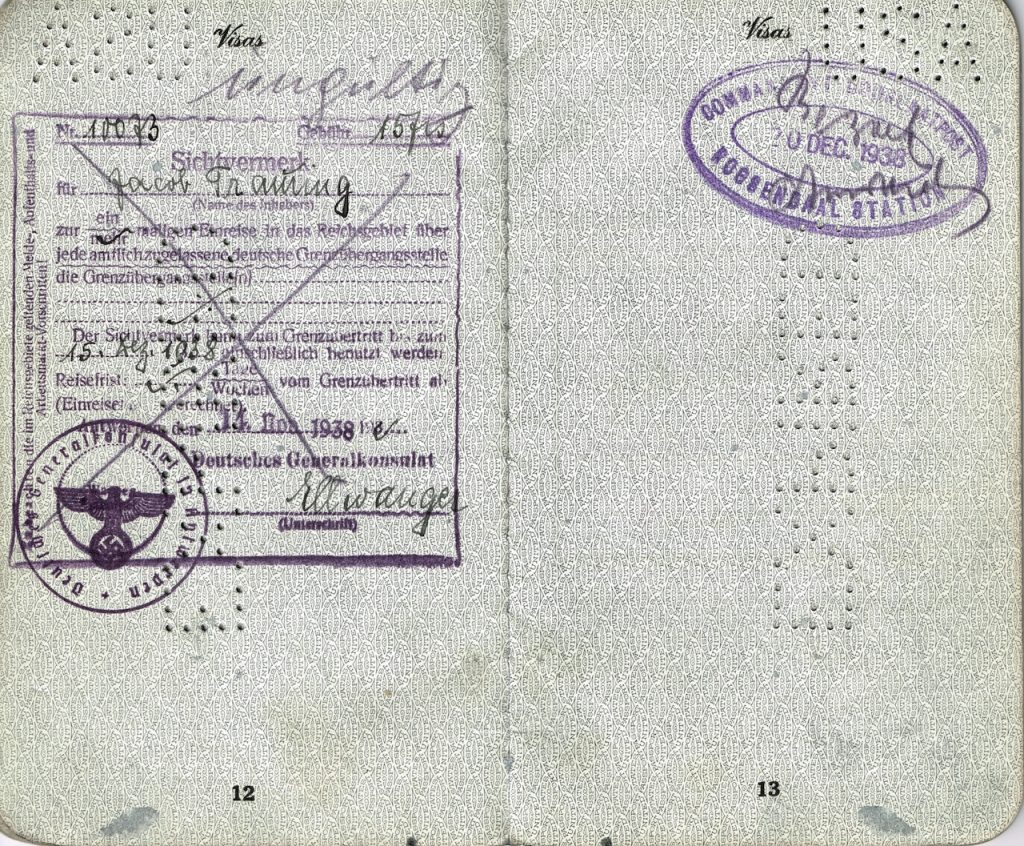 Visa to enter Nazi Germany issued November 11, 1938