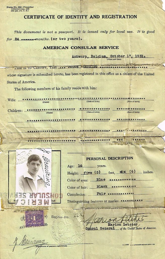 1931 Certificate of Identity and Registration