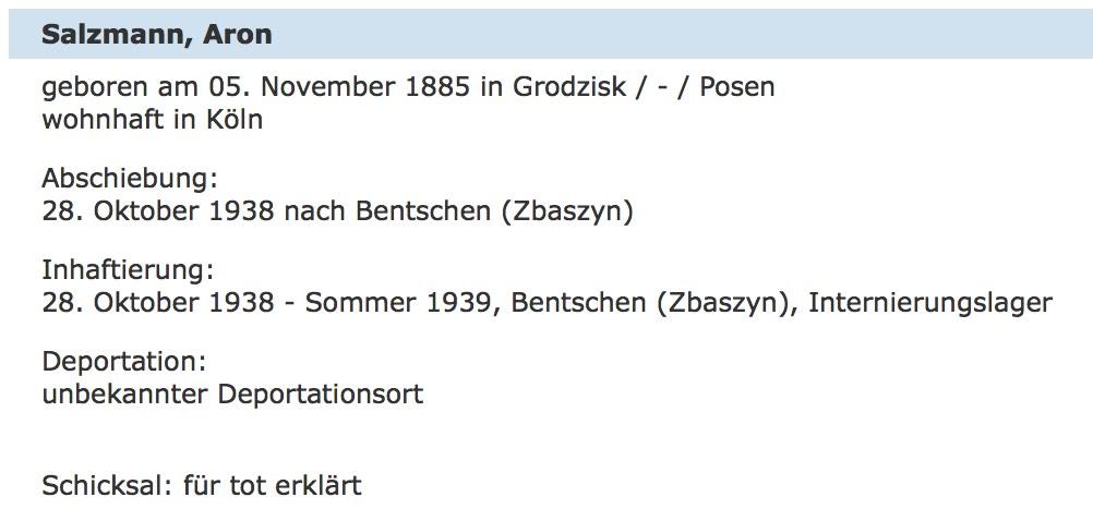 Gedenkbuch entry for Aron Salzmann