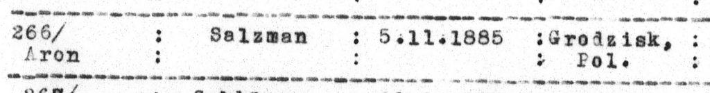 JDC Archive Record of Aron Salzmann