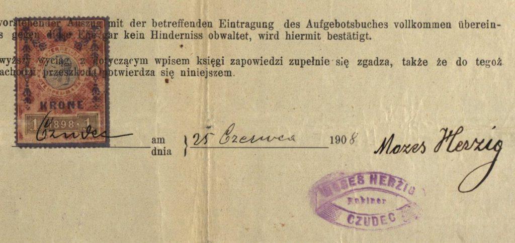 Czudec - 1908 - Rabbi Mozes Herzig