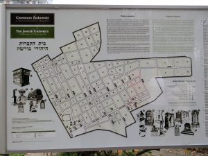 Photo of Okopowa St. Cemetery map on location, found on Wikimedia Commons