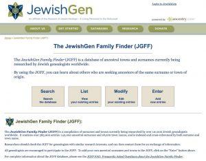 JewishGen Family Finder (JGFF)