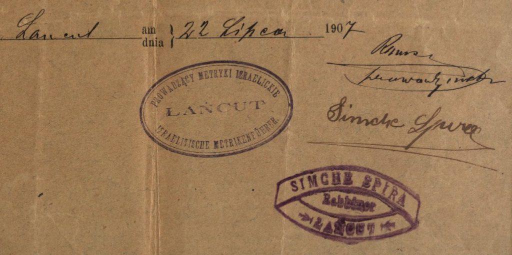 Łańcut - 1907 - Rabbi Simche Spira