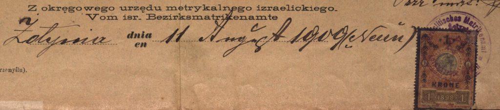 Żołynia - 1909