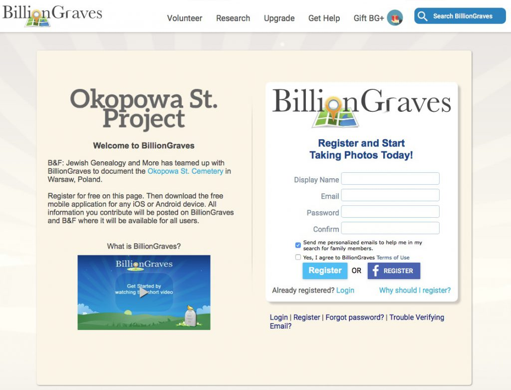 Okopowa St. Project BillionGraves registration page