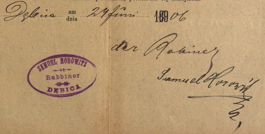 Dębica - 1906 - Rabbi Samuel Horowitz