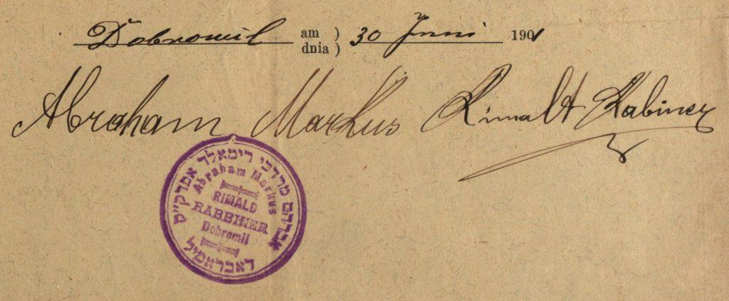 Dobromil (now Dobromyl, Ukraine) - 1901 - Rabbi Abraham Markus Rimald