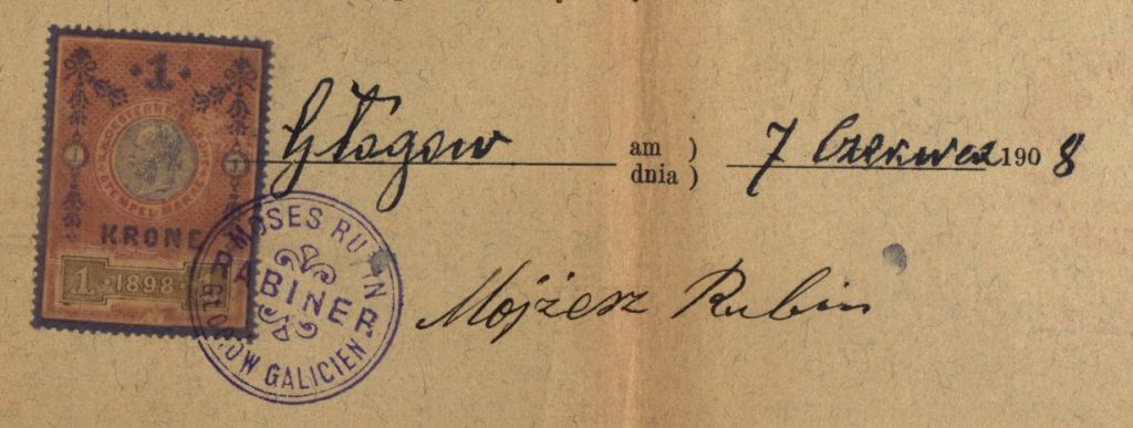 Głogów Małopolski - 1908 - Rabbi Moses Rubin