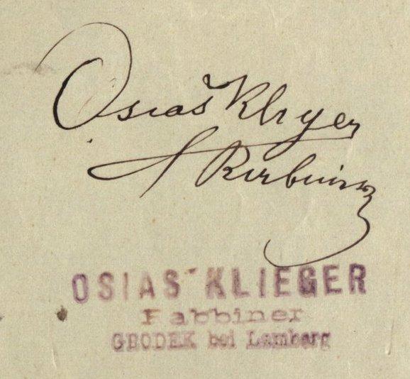 Gródek - 1903 - Rabbi Osias Klieger