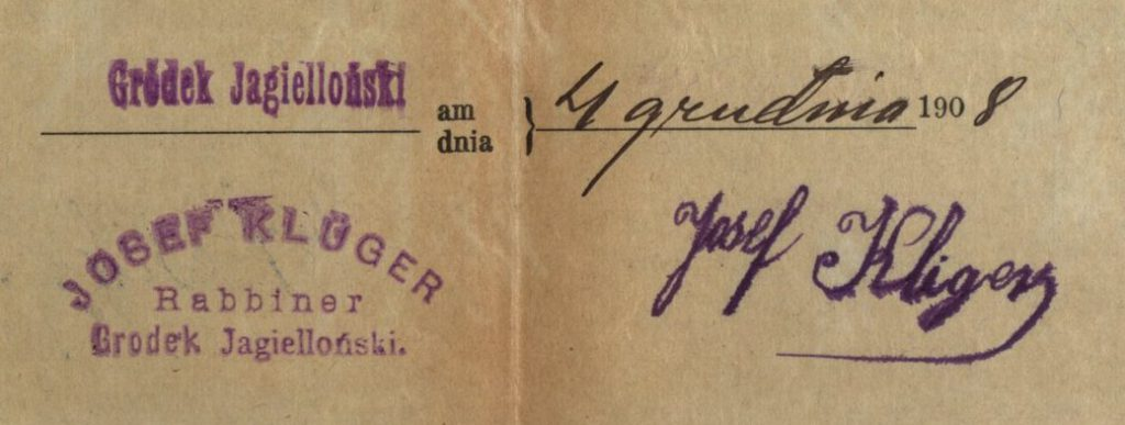 Gródek - 1908 - Rabbi Josef Kliger