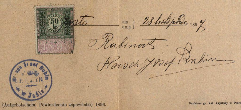 Jasło - 1897 - Rabbi Hersch Josef Rubin