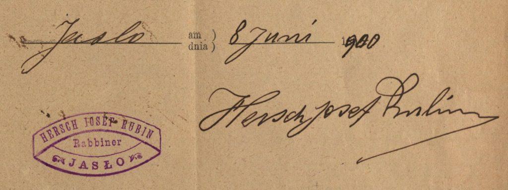 Jasło - 1900 - Rabbi Hersch Josef Rubin