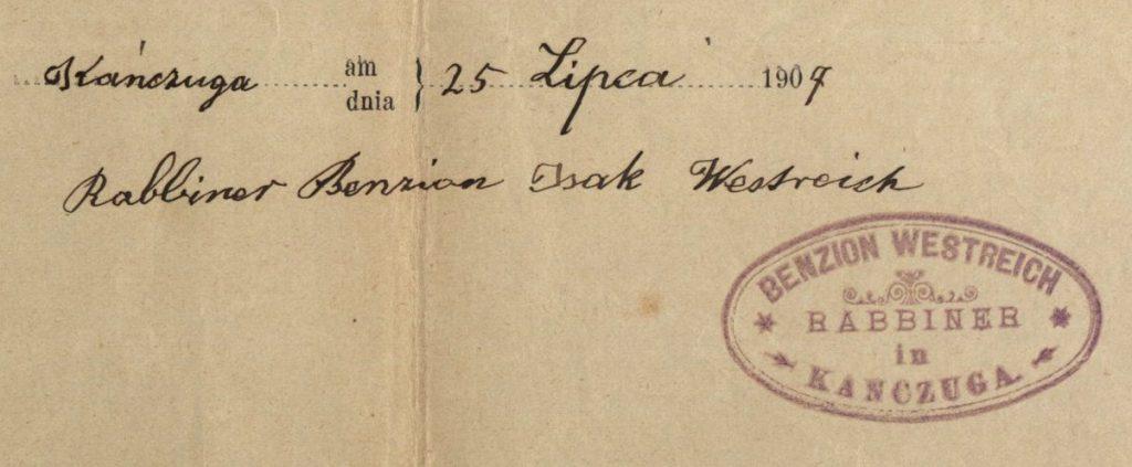 Kańczuga - 1907 - Rabbi Benzion Westreich