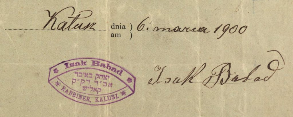 Kalusz (now Kalush, Ukraine) - 1900 - Rabbi Isak Babad