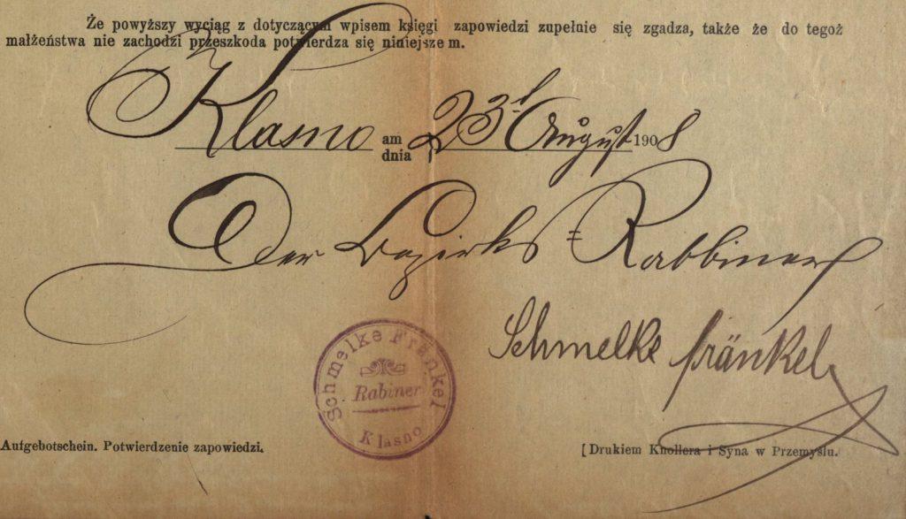 Klasno - 1908 - Rabbi Schmelke Frankel