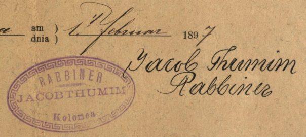 Kolomea (now Kolmyia, Ukraine) - 1897 - Rabbi Jacob Thumim
