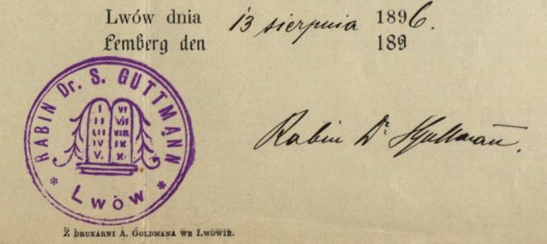 Lemberg/Lwow (now Lviv, Ukraine) - 1896 - Rabbi Dr. S. Guttman
