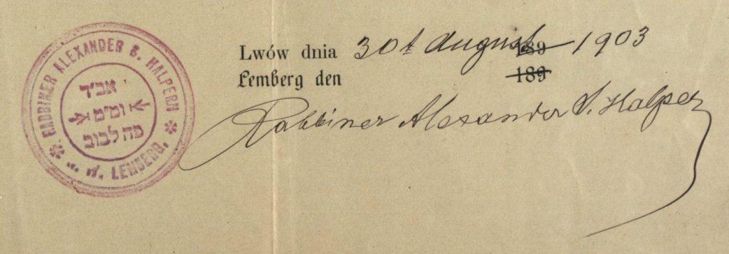 Lemberg/Lwow (now Lviv, Ukraine) - 1903 - Rabbi Alexander Halpern