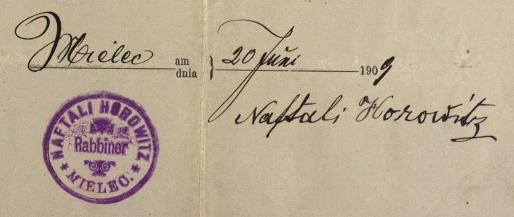 Mielec - 1909 - Rabbi Naftali Horowitz