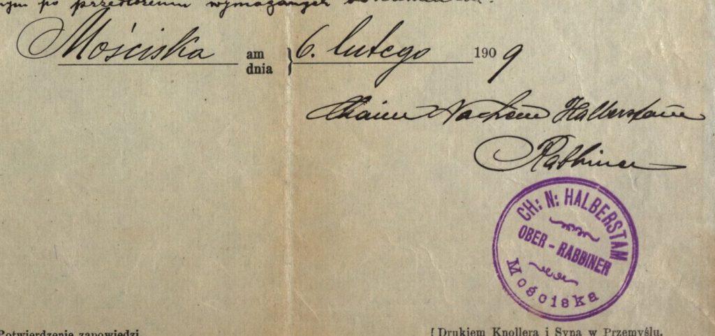 Mosciska (now Mostyska, Ukraine) - 1909 - Rabbi Chaim N. Halberstam