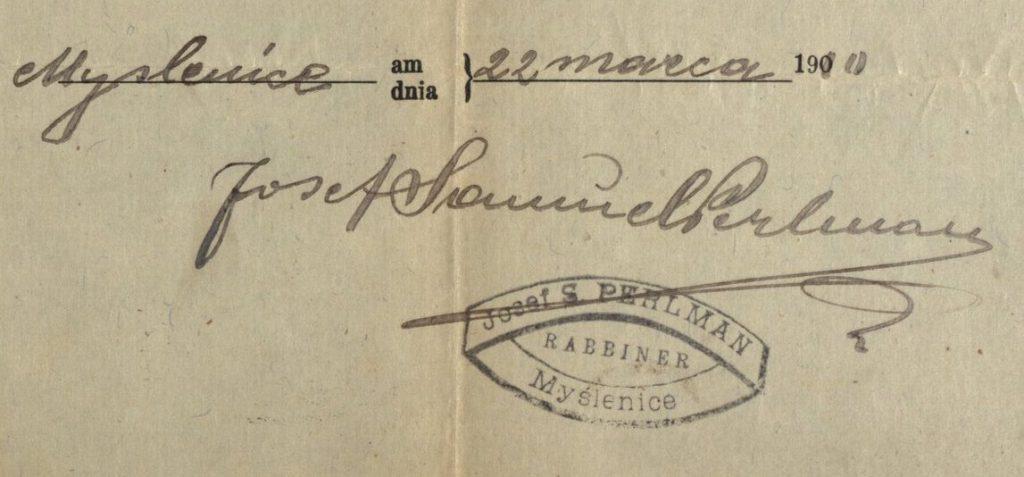 Myślenice - 1910 - Rabbi Josef S. Perlman