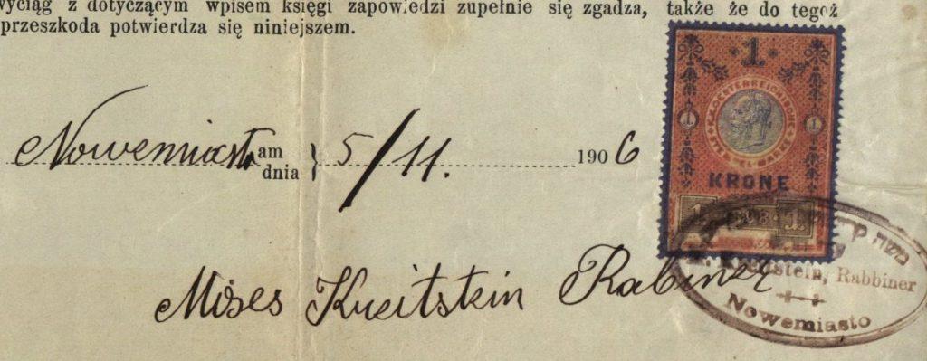 Nowemiasto - 1906 - Rabbi Moses Kreitstein