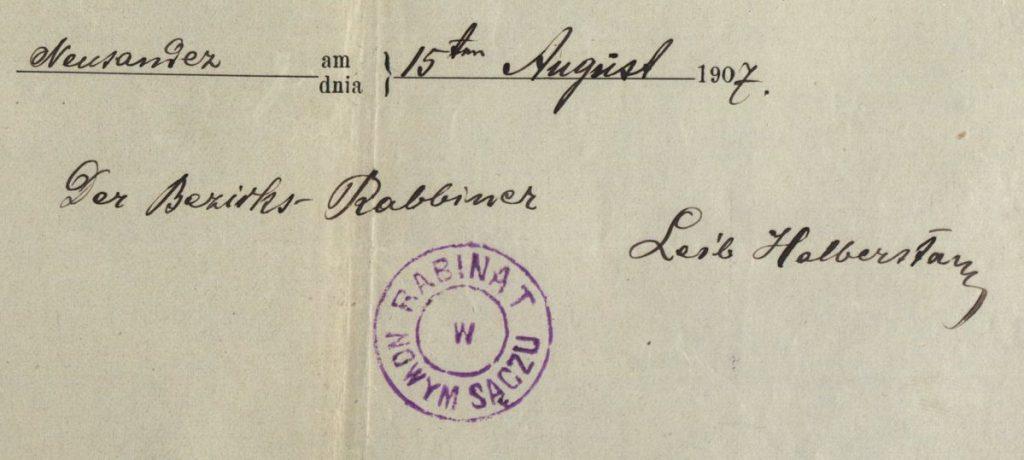 Nowy Sącz - 1907 - Rabbinate
