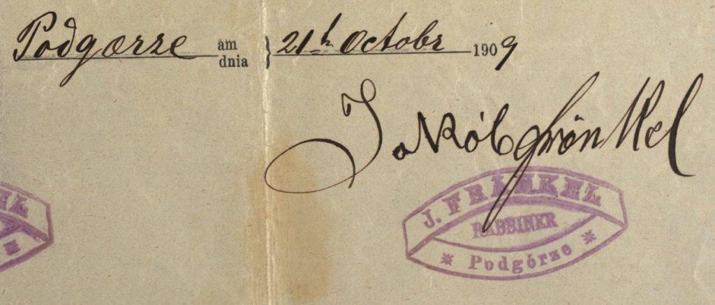 Podgórze - 1909 - Rabbi Jakob Frankel