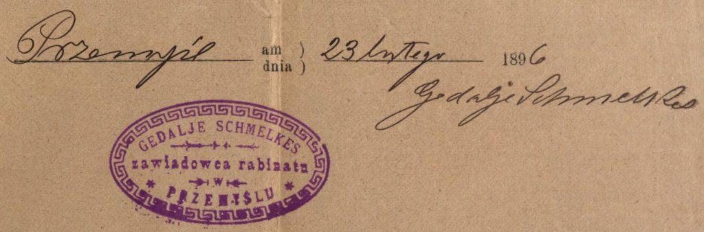 Przemyśl - 1896 - Gedalje Schmelkes