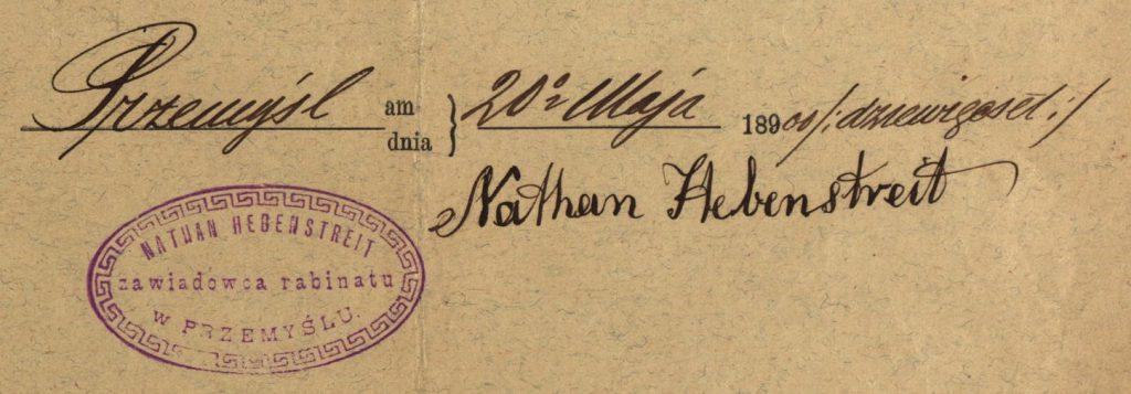 Przemyśl - 1900 - Rabbi Nathan Hebenstreit