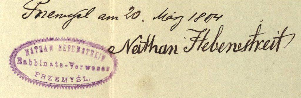 Przemyśl - 1904 - Rabbi Nathan Hebenstreit
