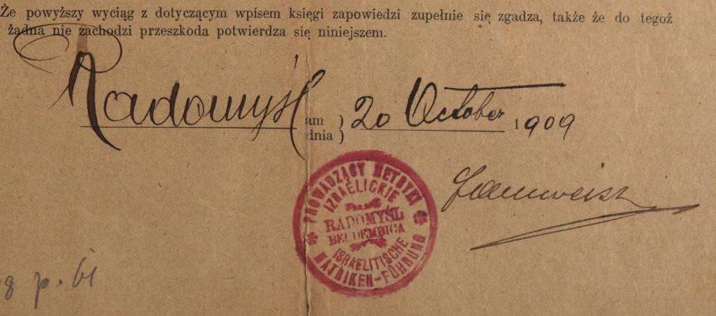 Radomyśl Wielki - 1909