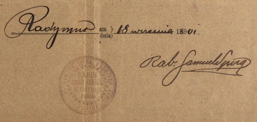 Radymno - 1901 - Rabbi Samuel Spira