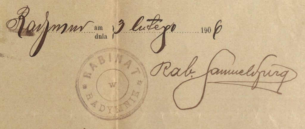 Radymno - 1906 - Rabbinate
