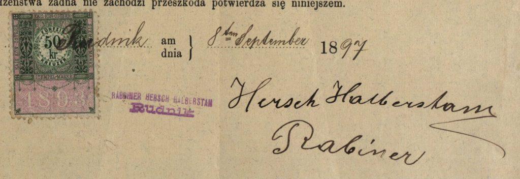 Rudnik - 1897 - Rabbi Hersch Halberstam