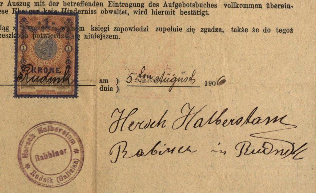 Rudnik - 1906 - Rabbi Hersch Halberstam