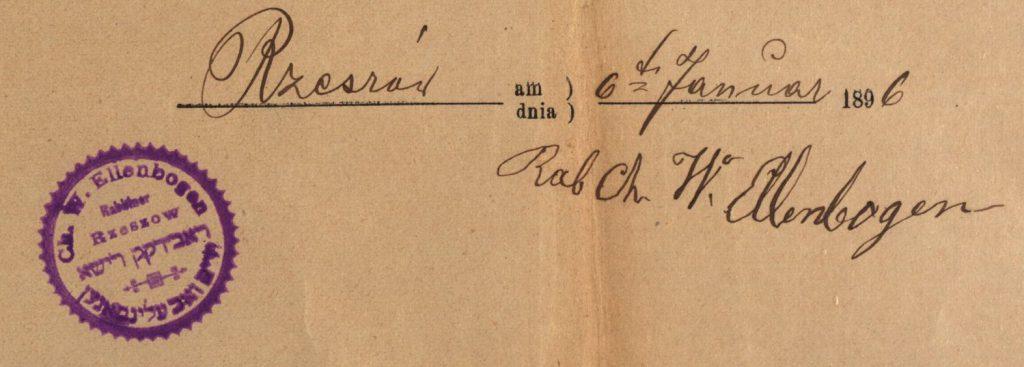 Rzeszów - 1896 - Rabbi Chaim Wolf Ellenbogen