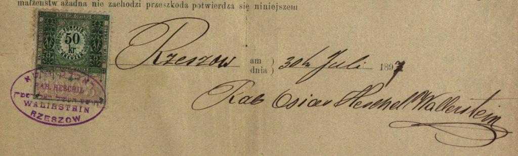 Rzeszów - 1897 - Rabbi O.H. Walirstein