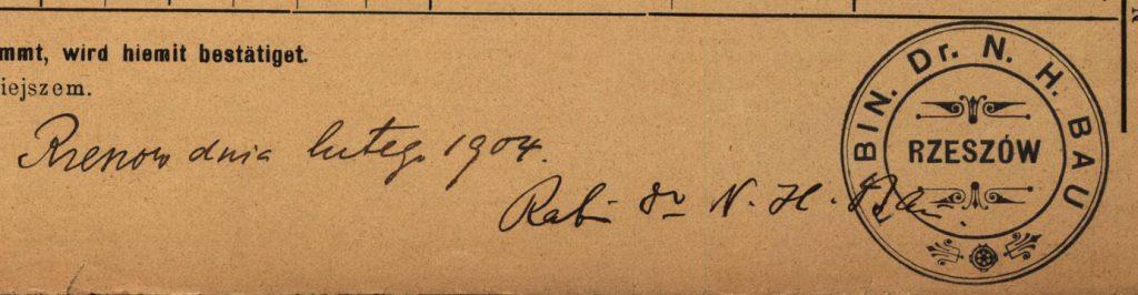 Rzeszów - 1904 - Rabbi Dr. N. H. Bau