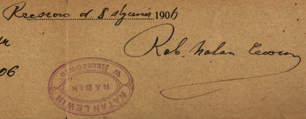 Rzeszów - 1906 - Rabbi Natan Lewin