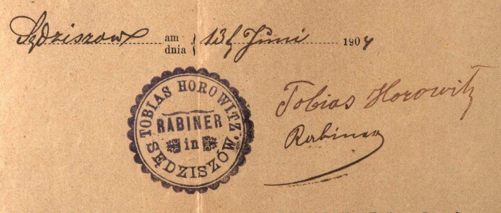 Sędziszów Małopolski - 1904 - Rabbi Tobias Horowitz