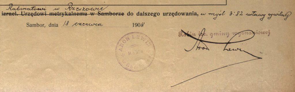 Sambor (now Sambir, Ukraine) - 1908 - Rabbi Aron Lewin