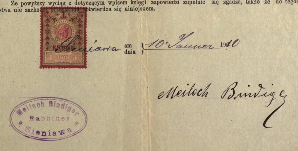 Sieniawa - 1910 - Rabbi Meilech Bindiger