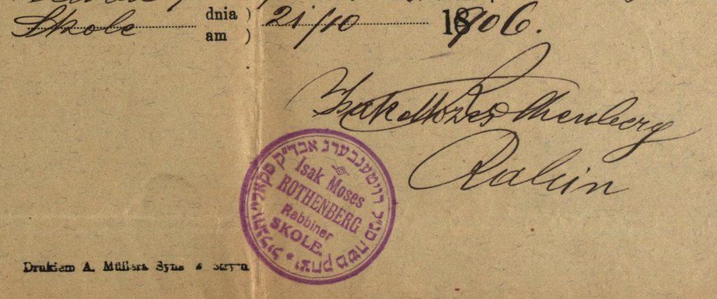 Skole (now in Ukraine) - 1906 - Rabbi Isak Moses Rothenberg