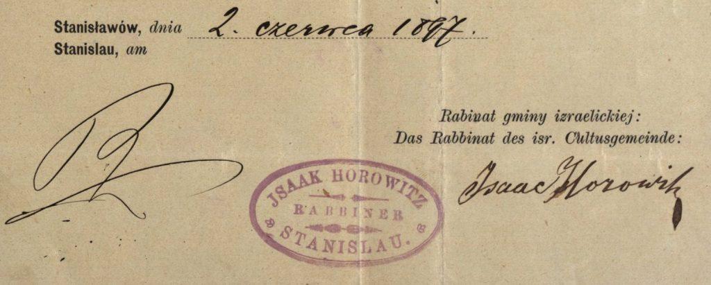 Stanisławów (now Ivano-Frankivsk, Ukraine) - 1897 - Rabbi Isaac Horowitz